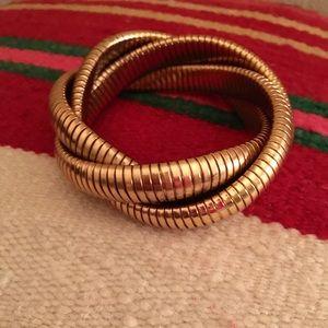 Gold coil bracelet from J Crew.